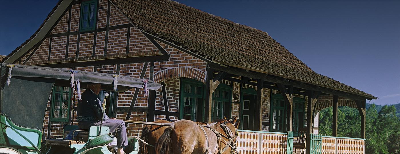 Típica casinha alemã encontrada em Pomerode, Santa Catarina
