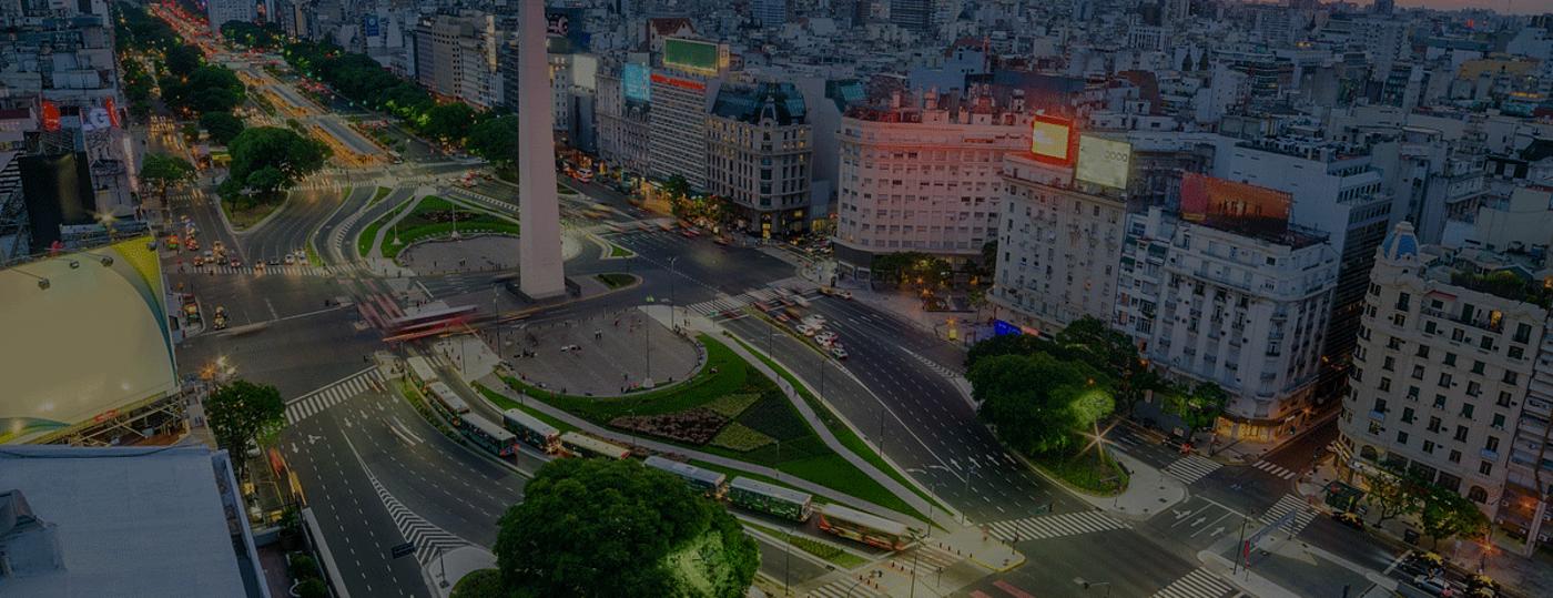 Vista do Obelisco, em Buenos Aires
